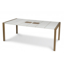 Sunday garden table 190 cm white seals linen + wood cutting board