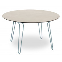 Ramatuelle table Ø130 cm Blue legs - table top in natural wood look