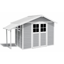 Light gray garden shed Lodge 7,5 m² with porch roof