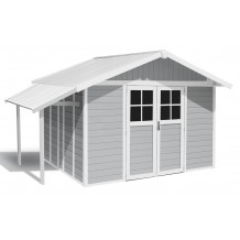 Lodge garden shed 11m² ligth gray with porch roof
