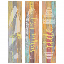 Wall decorative set fluo wood surf
